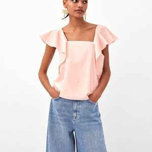 zara poplin ruffled top